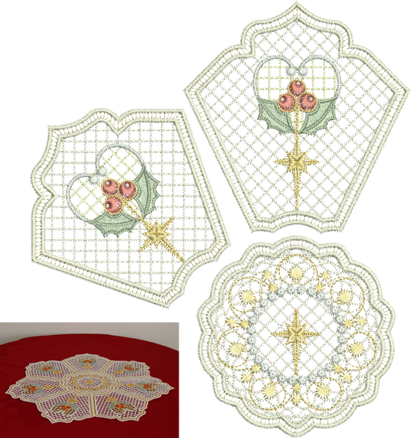 35 - Christmas Holly Doily Set