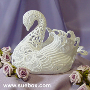 3D Lace Swan FSL Embroidery Motif by Sue Box