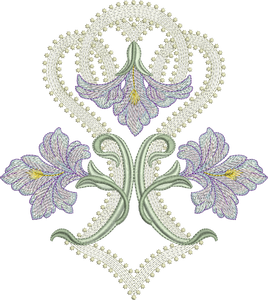 Art Nouveau Flower Machine Embroidery Motif  - 01 - by Sue Box