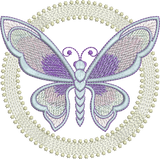 Art Nouveau Circle and Butterfly Machine Embroidery Motif - 02 - by Sue Box