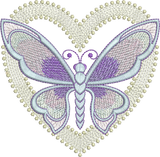 Art Nouveau Heart and Butterfly Machine Embroidery Motif - 07 - by Sue Box