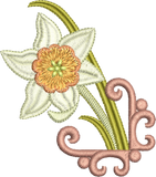 Daffodil Embroidery Motif 4 by Sue Box