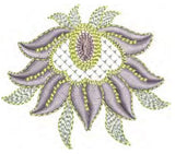 Jewel Motif C and Flower 2 Embroidery Design - 08 - Metallic Thread designs by Sue Box