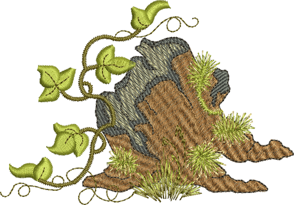 Stump Embroidery design from the Woodland forest by Sue Box