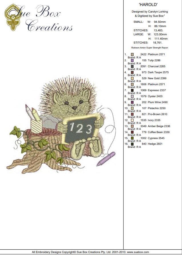 machine embroidery design as an instant download by Sue Box in 2 sizes Hedgehog Harold Woodland Treasures