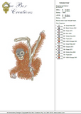 Orangutan Bay Ape Embroidery Motif - 03 - Zoo Babies by Sue Box