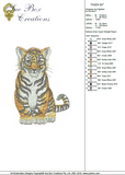 Tiger Sit - Cat embroidery Motif - 15 - Zoo Babies by Sue Box