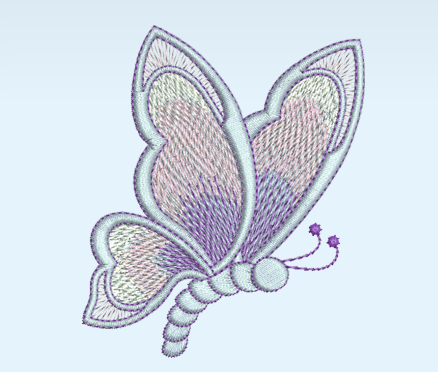 Art Nouveau Butterfly Machine Embroidery Motif - 10A - by Sue Box