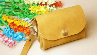 leather DIY retro folding handbags