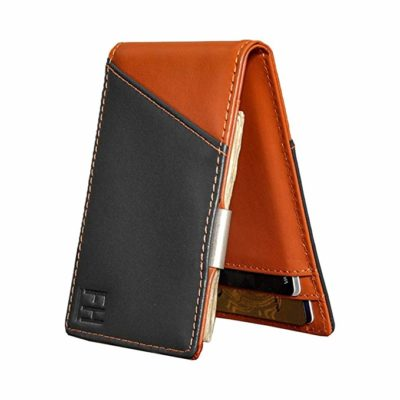 F&H Signature Slim RFID Money Clip Wallet in Top Grain Leather