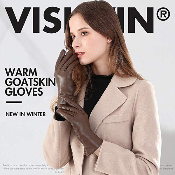 Vislivin Full-Hand Womens Touch screen Gloves Genuine Leather Gloves Warm Winter Texting Driving Glove