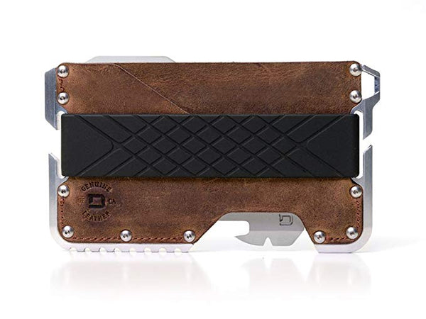 Dango D01 Dapper EDC Wallet - Made in USA - Genuine Leather, CNC Alum, RFID Blocking