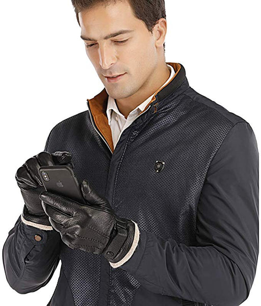 Acdyion Mens Genuine Leather Gloves Winter - Acdyion Touchscreen Cashmere/Wool Lined Warm Dress Driving Gloves