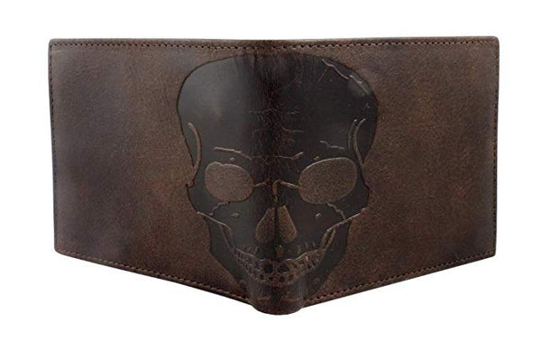 Unique RFID Blocking Skull Embossed Distressed Leather Bifold Gothic Slim Wallet In GIFT BOX by Corder London