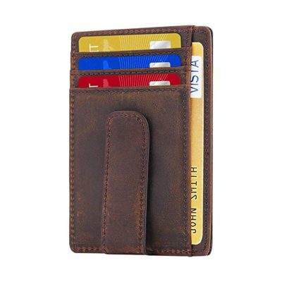 Beartwo RFID Block ing Minimalist Genuine Leather Money Clip Wallet Slim Front Pocket Wallet Credit Card Holder with ID Window