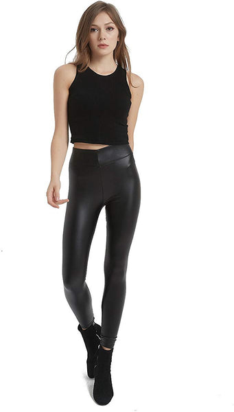 MCEDAR Women's Faux Leather Legging Pants Girls Black High Waist Sexy Skinny Outfit for Causal, Club, Night Out