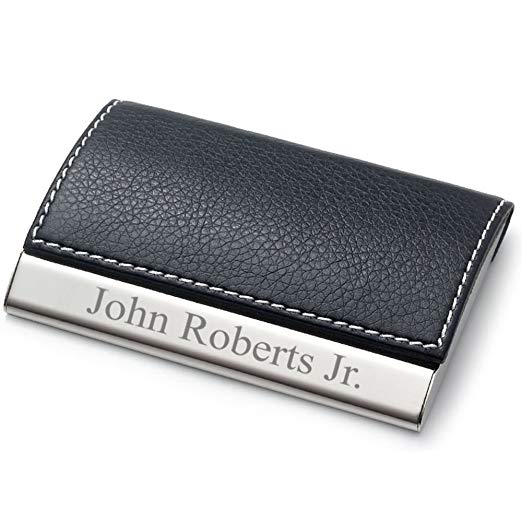 Personalized Leatherette Business Card Case - Free Engraving