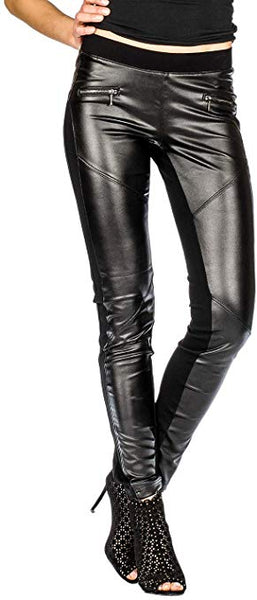 Suko Women's Leggings - Wax Coated Ponte Pants - Biker Moto Faux Leather