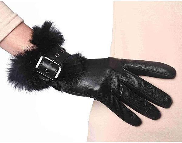 YISEVEN Women's Touchscreen Lambskin Leather Gloves Rabbit Fur Cuff