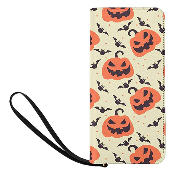 InterestPrint Women's Halloween Pumpkin Leaves Clutch Purse