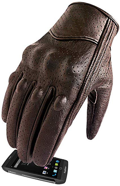 Superbike Men's Brown Leather Motorcycle Gloves With Touchscreen Finger and Knuckle Protector Motor Racing Gloves (XL, Brown,Perforated)