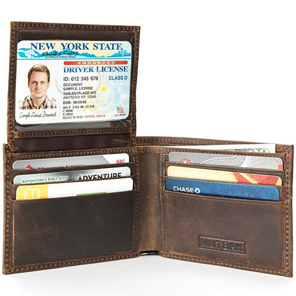 MUTBAK Citadel - Passcase Bifold Leather Wallet with RFID/NFC Blocking