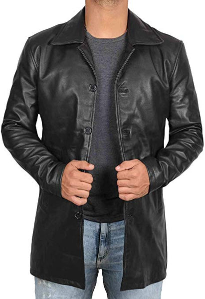 Blingsoul Brown Leather Jacket Men - Black Genuine Leather Coats for Men