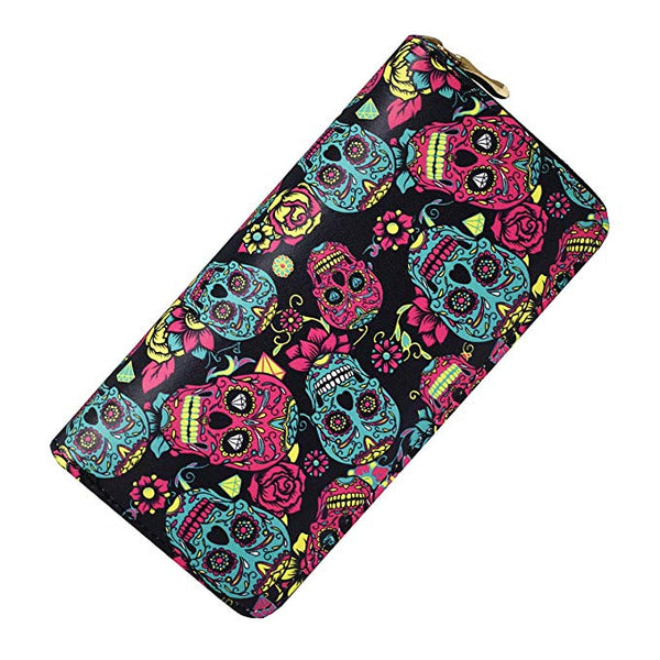 Laimi Duo Sugar Skull Wallet for Women Clutch Zipper Credit Card Holder Case Gift Purse