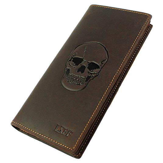 LXFF Men's Genuine Leather Long Bifold Wallet With ID Window Vintage Skull