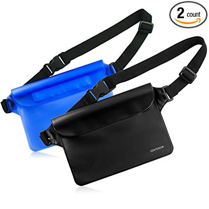 Venterior Waterproof Pouch 2 Pack with Adjustable Waist Strap - Keep Your Phone Wallet License Safe and Dry - Perfect Dry Bag for Boating Swimming Snorkeling Fishing Sailing Beach Water Parks