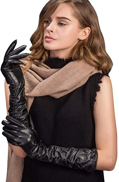 YISEVEN Women's Touchscreen Lambskin Leather Long Evening Opera Gloves Pleats