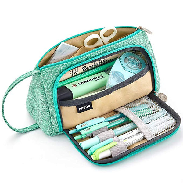 EASTHILL Big Capacity Pencil Pen Case Bag Pouch Holder for Middle High School Office College Girl Adult Large Storage Green