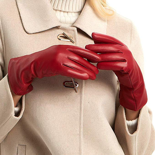 MGGM collection Womens Nappa Lambskin Leather Gloves(100% Wool/Cashmere Lining)