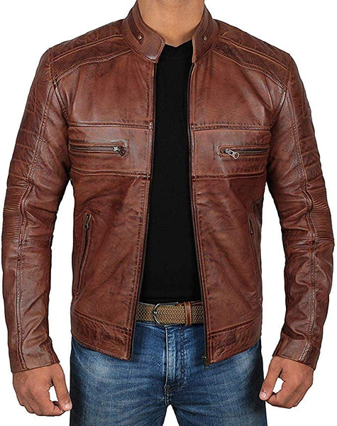 Decrum Brown Leather Jacket Mens - Cafe Racer Real Lambskin Leather Distressed Motorcycle Jacket