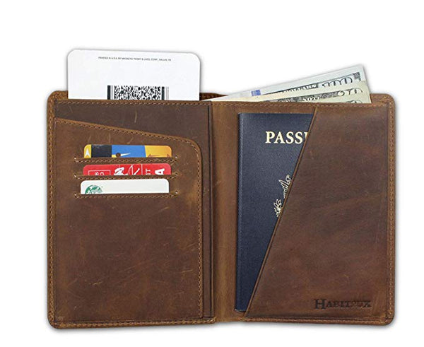 Habitoux RFID Blocking Passport Holder Travel Wallet - Genuine Crazy Horse Leather