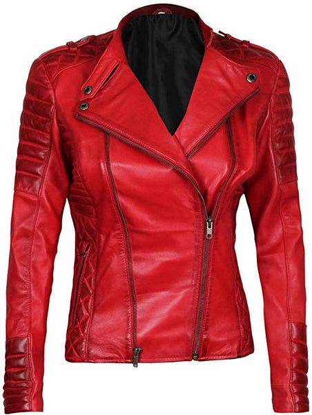 Blingsoul Leather Jackets for Women - Ladies Motorcycle Leather Jacket