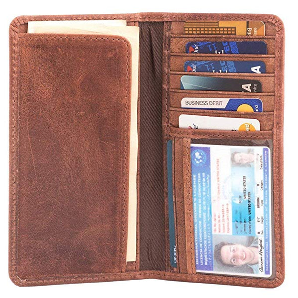 RAWHYD Long Leather Bifold Wallet for Men |Checkbook Cover Or Suit Jacket Wallet