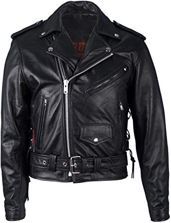 Hot Leathers Classic Motorcycle Jacket with Zip Out Lining (Black)