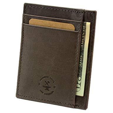 Hammer Anvil RFID Blocking Minimalist Front Pocket Wallet Genuine Leather