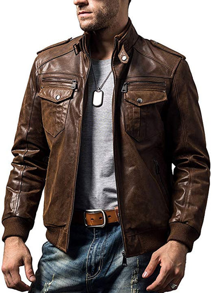 FLAVOR Men Biker Retro Brown Leather Motorcycle Jacket Genuine Leather Jacket