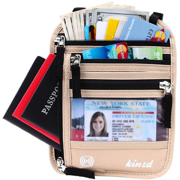 Kinzd Neck Wallet RFID Blocking Concealed Travel Pouch & Passport Holder Neck Stash