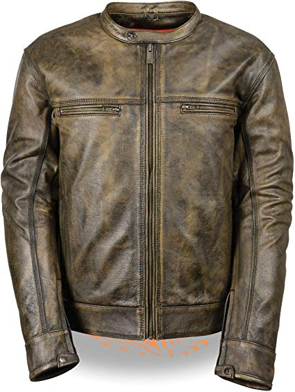 Milwaukee Men's Distressed Brown Leather Scooter Jacket w/ Triple Stitch Detailing Motorcycle Jacket