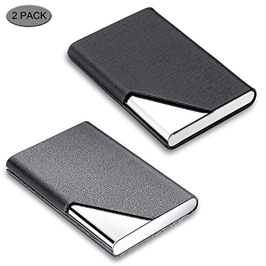Business Card Holder, DMFLY 2 Pack Business Card Case - Luxury PU Leather & Stainless Steel Metal Business Card Holder Wallet Credit Card Case/Holder for Women and Men, Magnetic Shut Style (DM-BG01)