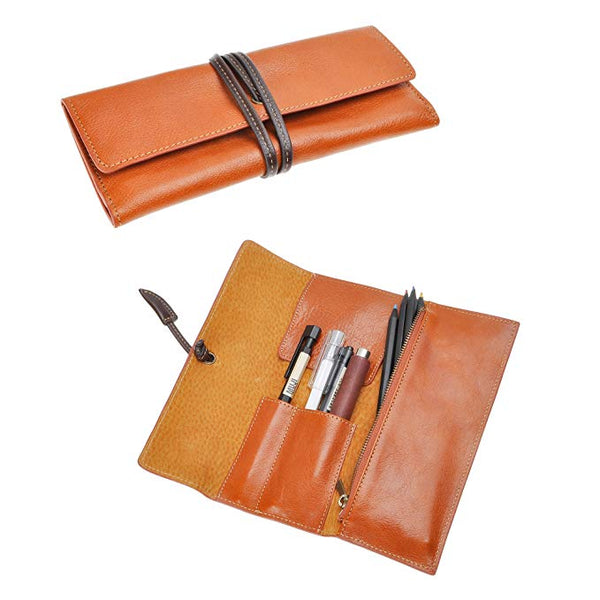 ZLYC Handmade Leather Pen Case Pencil Holder Soft Roll Wrap Bag Pouch Stationery Gift (Brown)
