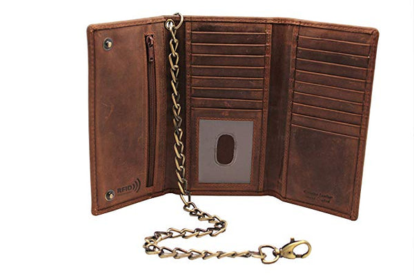 Juzar Tapal Collection Men's New Cow Leather Crazy Horse Brown Long Checkbook Trifold Stainless Bronze Chain Wallet R.F.I.D Signal Blocking Bikers Trucker's