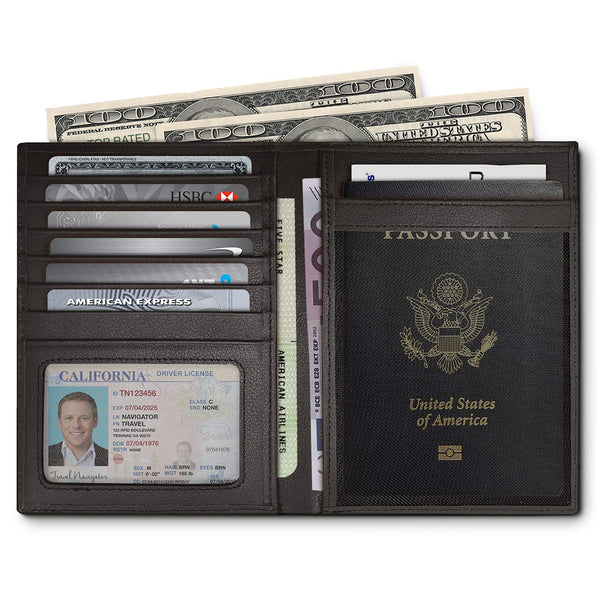 RFID Blocking Leather Passport Holder For Men and Women - Black by Travel Navigator