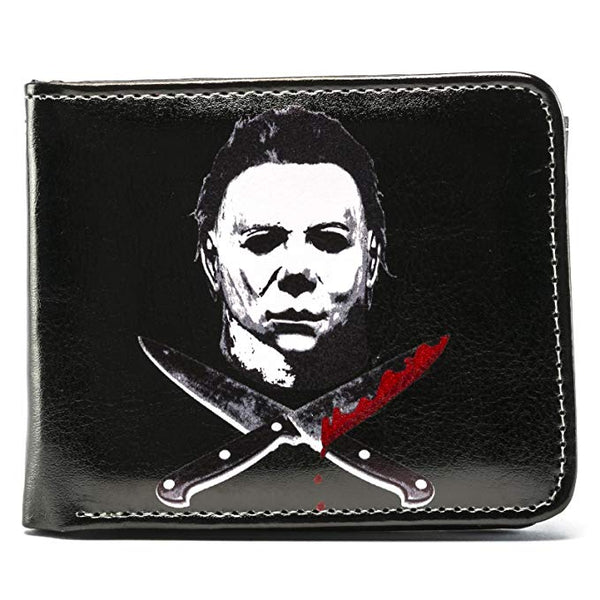 Rock Rebel Halloween 2 Micheal Myers Cross Knives Bi-Fold Wallet, Black, ONE SIZE