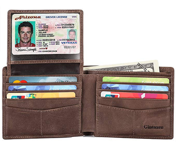 GintaXen Mens Genuine Leather Bifold Wallet with 2 ID Window and RFID Blocking