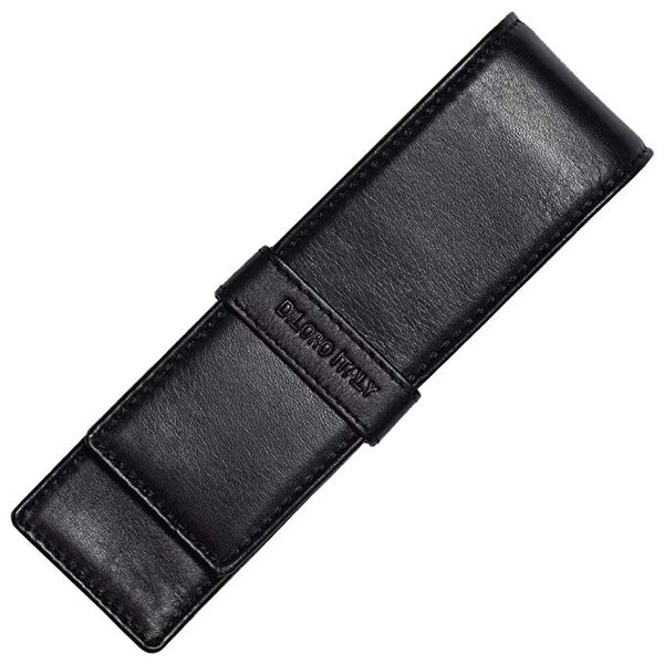 DiLoro Double Pen Case Pouch Holder for Two Pens or Pencils Genuine Full Grain Nappa Leather (Black Nappa)