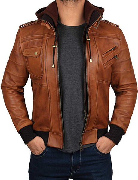 Decrum Bomber Leather Jacket with Hood - 100% Real Lambskin Hand Waxed Leather - Removable Hood